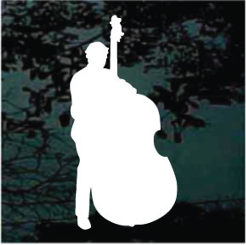Poised Bass Player Window Decal