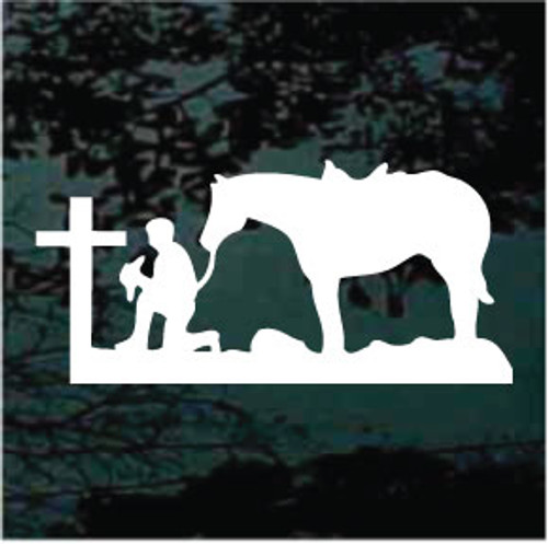 Cowboy Praying at the Christian Cross Silhouette Window Decals