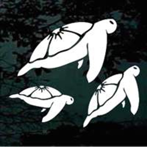 Hawaiian Turtle Family Swimming Window Decals