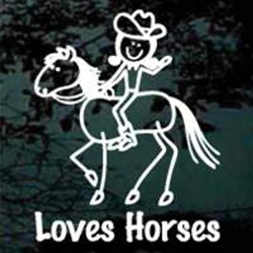 Stick Girl Loves Horses Window Decals