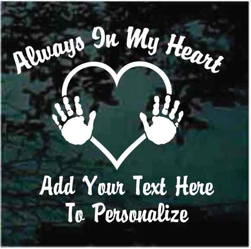 Child Hand Prints Heart Memorial Window Decals