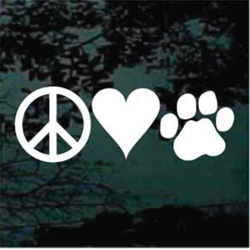 Peace Love Paws Window Decal