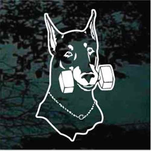 Doberman Dumbbell Agility Car Window Decals
