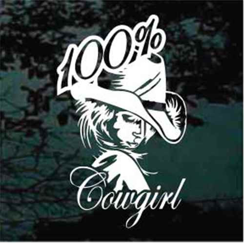 100% Cowgirl Window Decals
