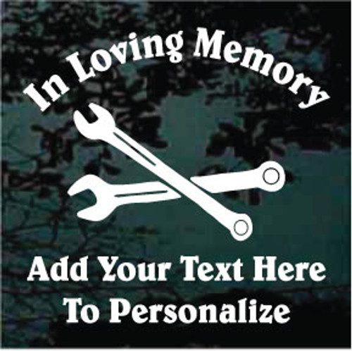 Auto Mechanic Wrenches Memorial Decals