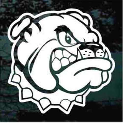 Tough Bulldog Head Mascot Window Decals