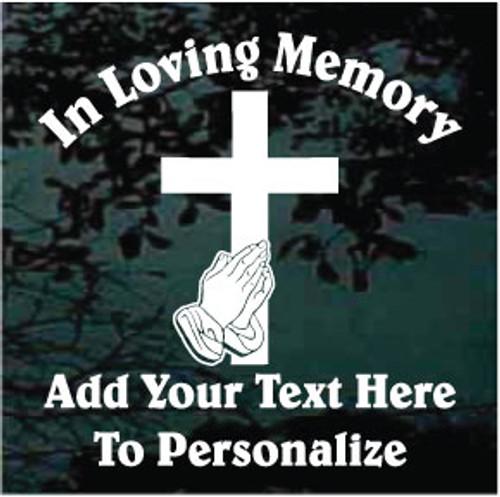 Cross With Praying Hands Memorial Decals