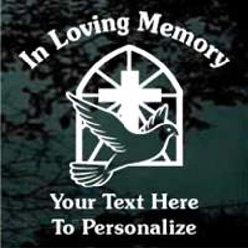 Cross With Dove Window Memorial Decals