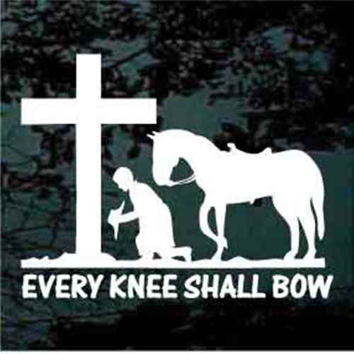 Cowboy Praying at the Cross Every Knee Shall Bow Custom Decals