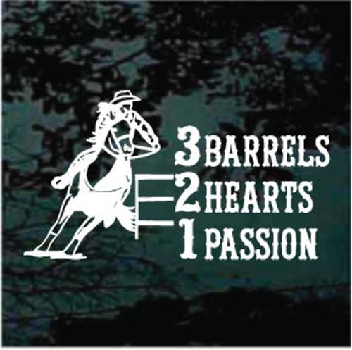 Barrel Racing 3 Barrels 2 Hearts 1 Passion Window Decals