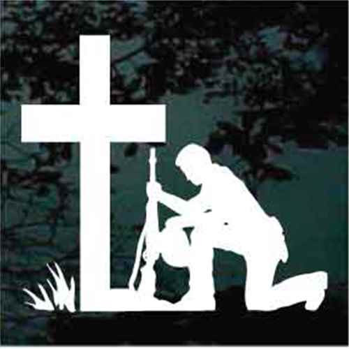 Christian Soldier Kneeling At The Cross Window Decal