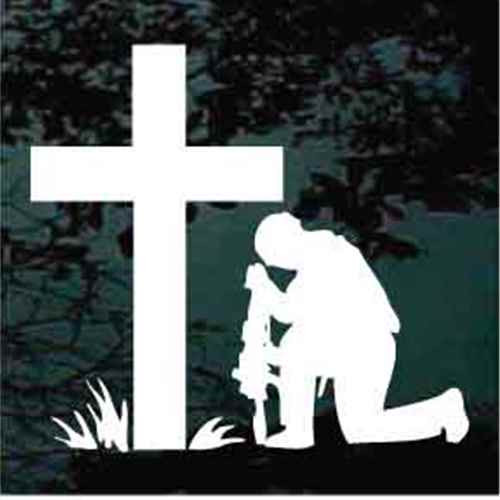 Christian Soldier Praying at the Cross Window Decal