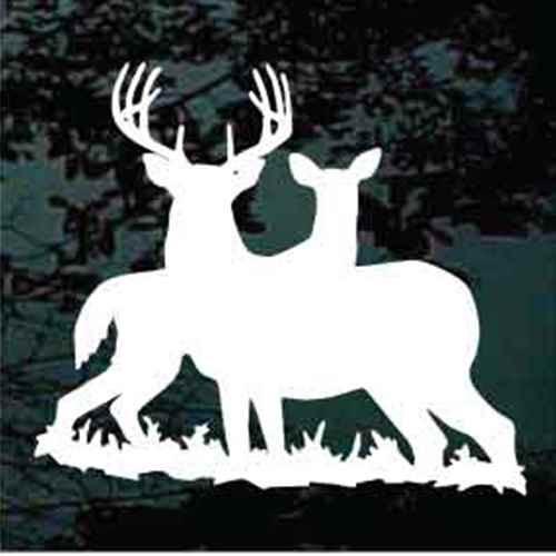 Alert Buck & Doe Silhouette