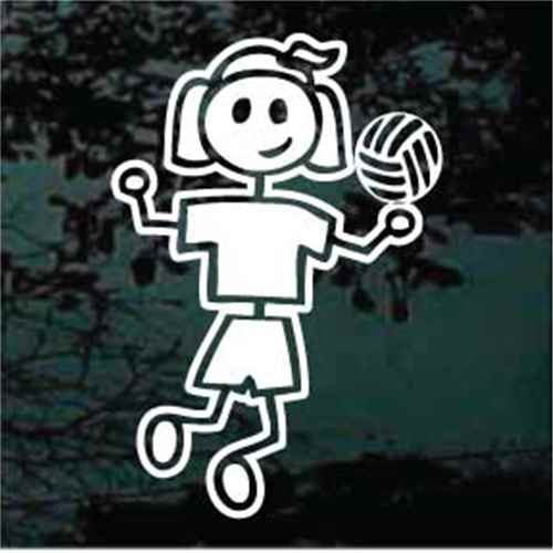 Stick Family Girl Volleyball  Decals