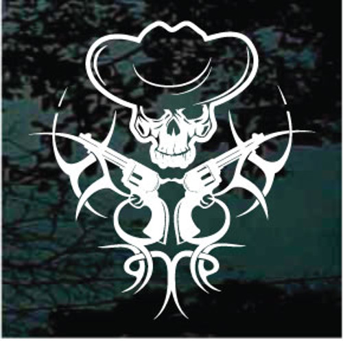 Cowboy Tribal With Guns Crossed Window Decals