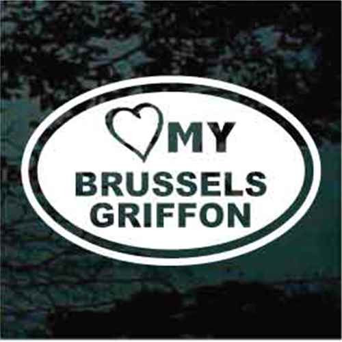 Brussels Griffon Heart My Oval Window Decal