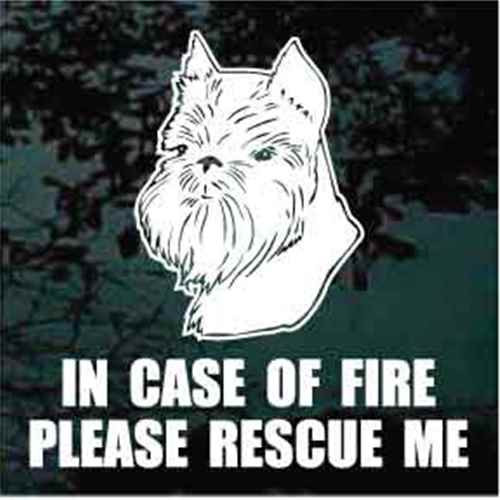 Fire Rescue Brussels Griffon Head Window Decal
