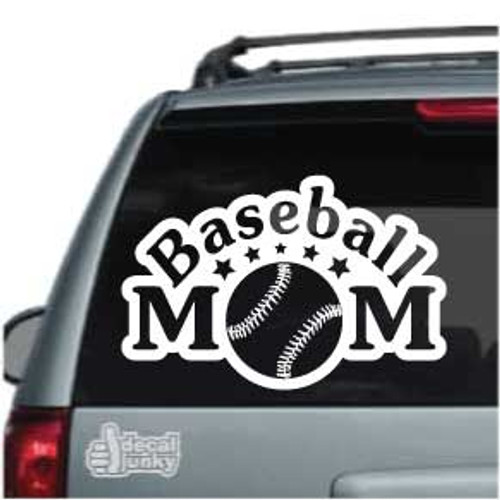 Arched Baseball Mom With Stars Car Decals