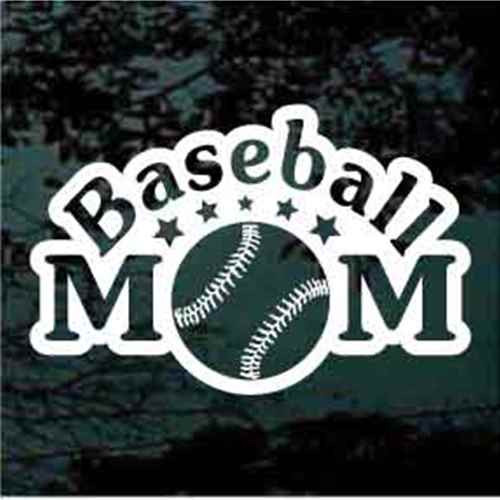 Arched Baseball Mom With Stars Window Decals