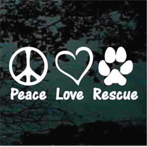 Peace Love Rescue Decals