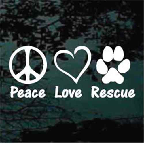 Peace Love Rescue Vinyl Sticker Car Decal