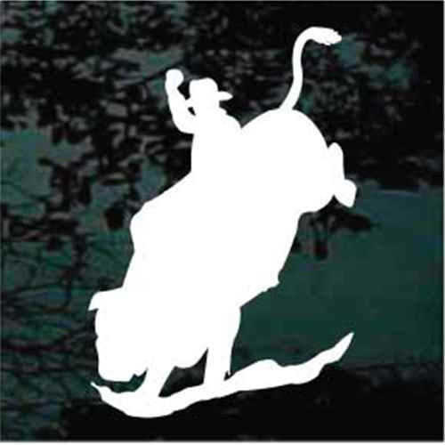 Cowboy Bull Riding Silhouette Window Decals