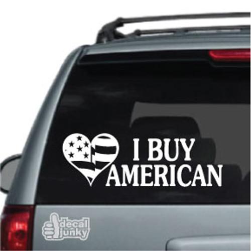 American Flag Heart I Buy American Car Decal