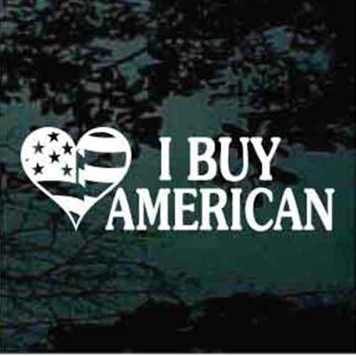 American Flag Heart I Buy American Window Decal