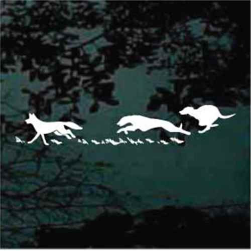 Dogs Chasing Coyote Window Decals