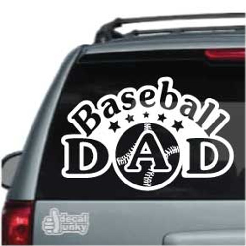 Arched Baseball Dad With Stars Car Decals