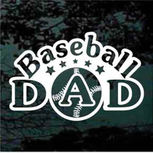 Arched Baseball Dad With Stars Window Decals