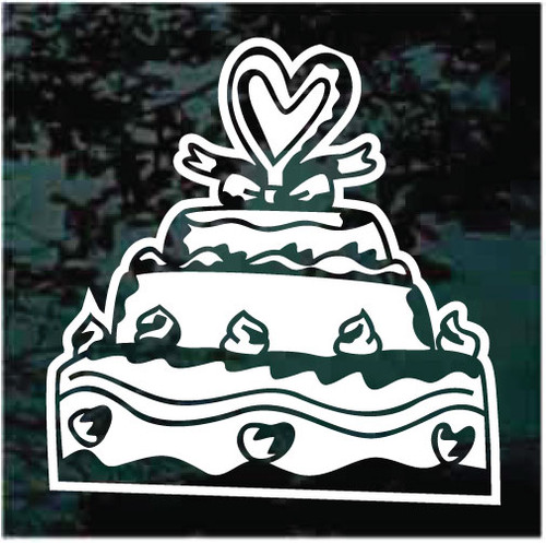 Decorated Wedding Cake With Heart Decals