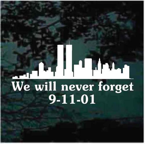 New York Skyline Never Forget 911 Decals