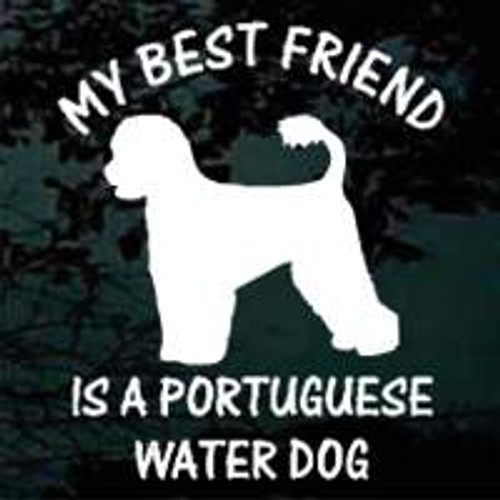 Portuguese Water Dog Silhouette Best Friend Window Decal