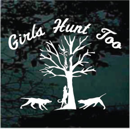 Girls Hunt Too Bayed Bear Window Decals