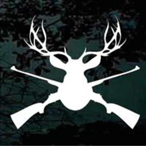 Buck Deer Head Mount Guns Crossed