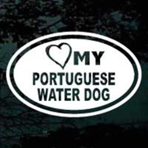 Portuguese Water Dog Heart My Oval Window Decal
