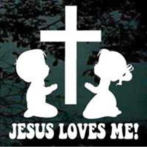 Children Praying Cross Jesus Loves Me Decals