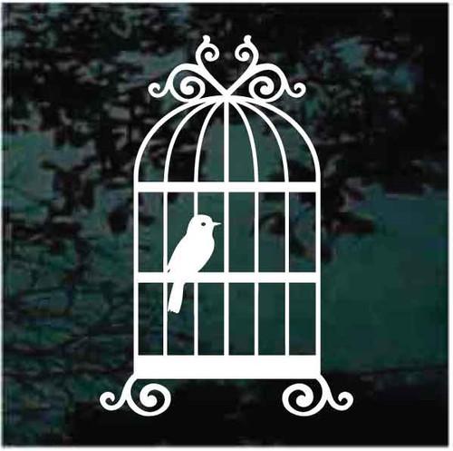 Bird In Cage Window Decals