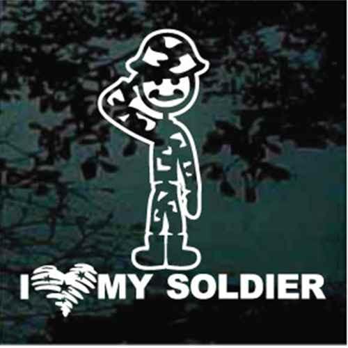 I Love My Soldier Cartoon Window Decals