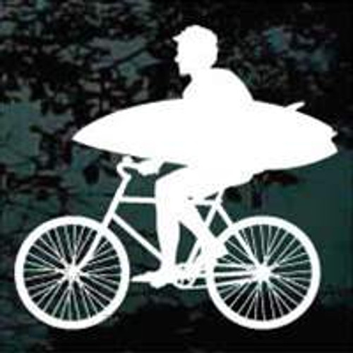 Man On Bicycle With Surfboard Window Decal