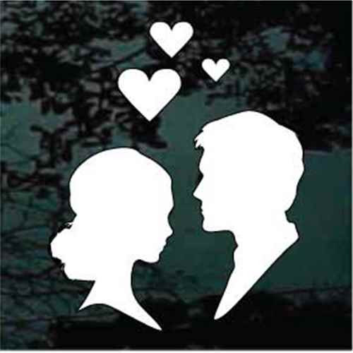Bride & Groom Silhouettes With Hearts