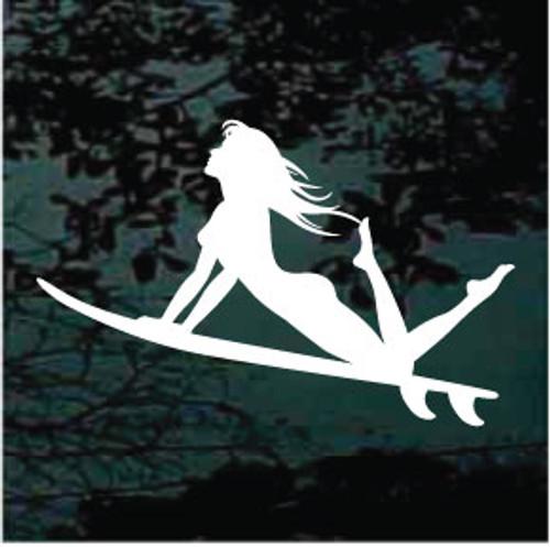 Girl Riding Surfboard Window Decal