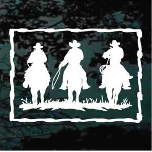 Three Cowboys Riding In Barbed Wire Border