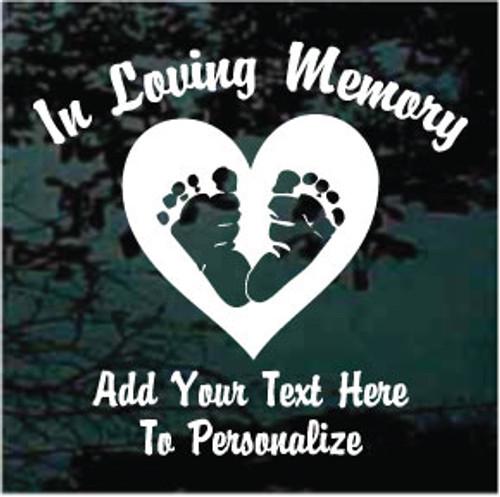 Baby Footprints Heart Memorial Decals