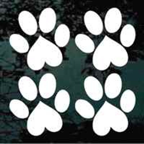 Set Of Four Heart Paw Prints Window Decal