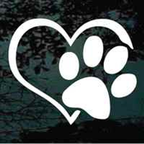 Heart Paw Print Window Decal