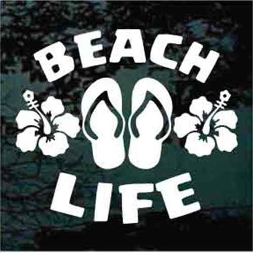 Flip Flops Beach Life With Hibiscus Flowers