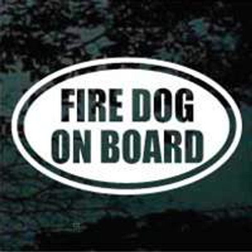Dalmatian Fire Dog On Board Text Oval Window Decals