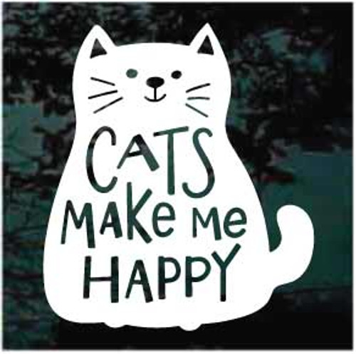 Cats Make Me Happy Window Decals